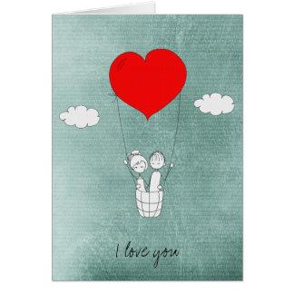 Globo del aire caliente del corazón tarjeta de felicitación