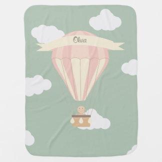 globo del aire caliente del rosa y del amarillo manta de bebé