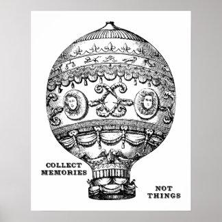 Globo del aire caliente del vintage póster