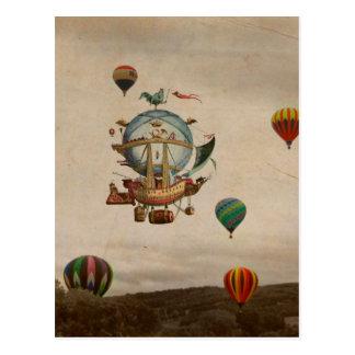 Globo del aire caliente, viaje de Minerve 1803 del Postal