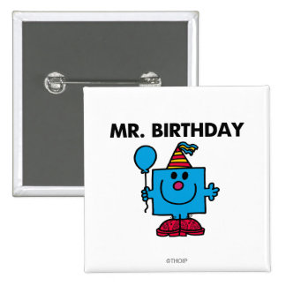Globo del feliz cumpleaños de Sr. Birthday el | Chapa Cuadrada 5 Cm