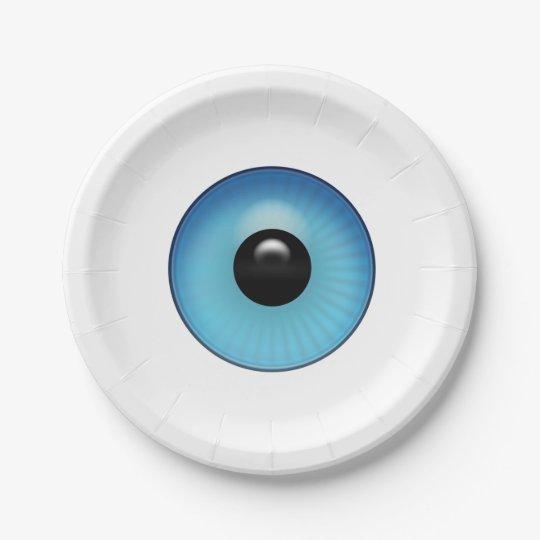 Globo del ojo azul plato de papel