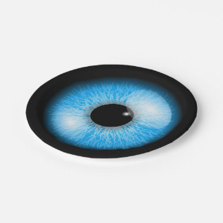 Globo del ojo realista azul espeluznante Halloween Plato De Papel