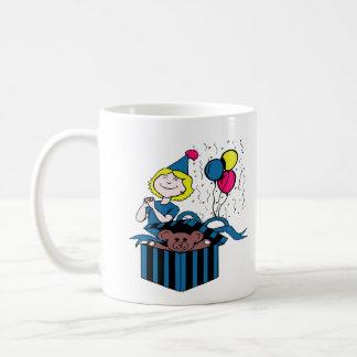 Globo del presente del oso de peluche del chica taza de café