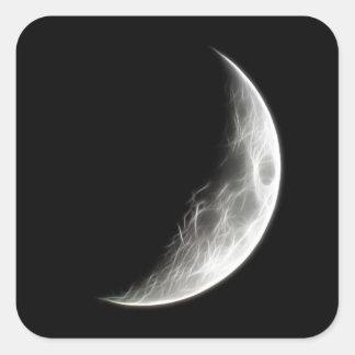 Globo lunar del planeta de la luna cuarta pegatina cuadrada
