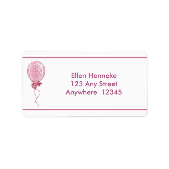 Globo rosado 2 etiqueta de dirección