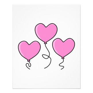 Globo rosado del corazón con el esquema negro flyer personalizado