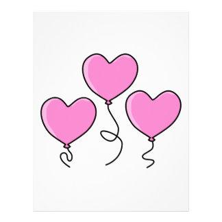Globo rosado del corazón con el esquema negro folleto 21,6 x 28 cm
