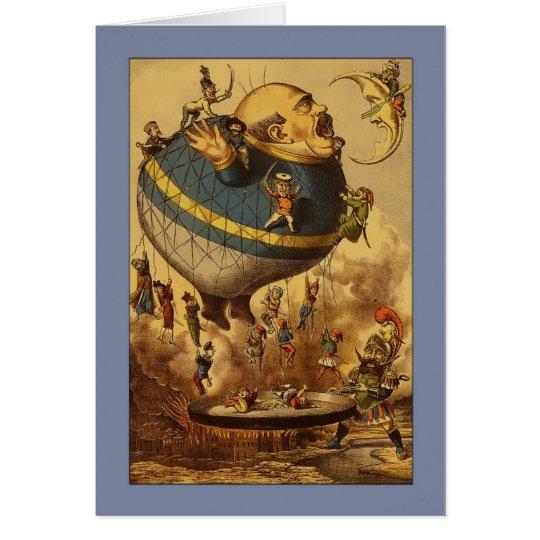 Globo y luna del aire caliente del vintage tarjeta de felicitación