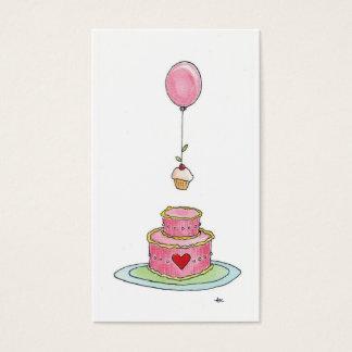 Globo y magdalena rosados caprichosos de la torta tarjeta de negocios