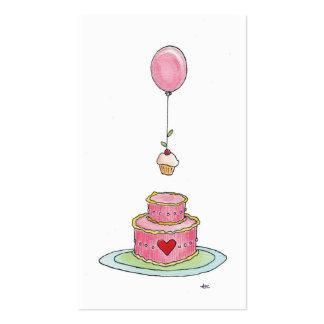Globo y magdalena rosados caprichosos de la torta tarjetas de visita