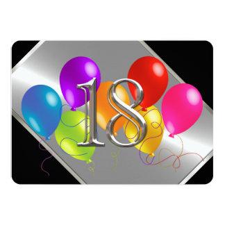 Globos 18 del cumpleaños invitación 12,7 x 17,8 cm