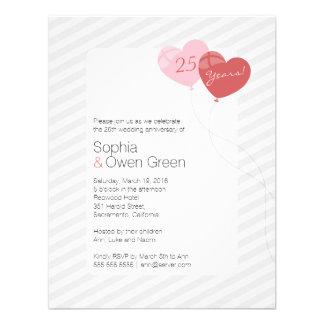 Globos 4 25 invitación del aniversario de boda x