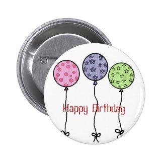 Globos, botón del feliz cumpleaños pin