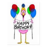 Globos caprichosos del feliz cumpleaños del flamen tarjeta postal