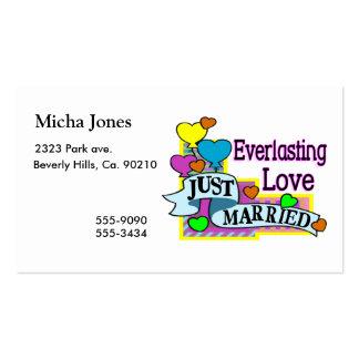 Globos casados eternos del corazón del amor apenas tarjeta de visita