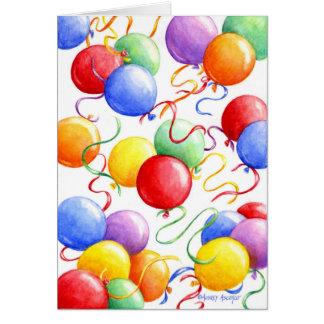 Globos coloridos de la tarjeta de felicitación del