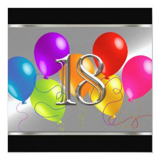 Globos cuadrados 18 del cumpleaños de la invitación 13,3 cm x 13,3cm