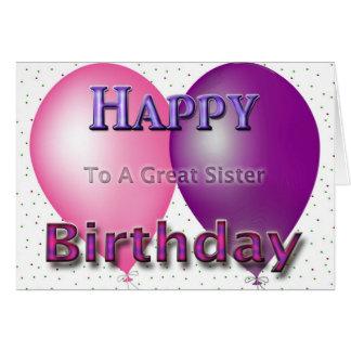 Globos de la hermana del feliz cumpleaños tarjeta de felicitación