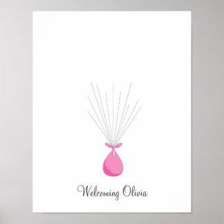 Globos de la huella dactilar del bebé - rosa póster