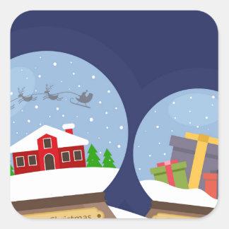 Globos de la nieve del navidad y presente de Papá Pegatina Cuadrada
