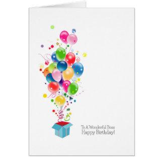 Globos de las tarjetas de cumpleaños de Boss que