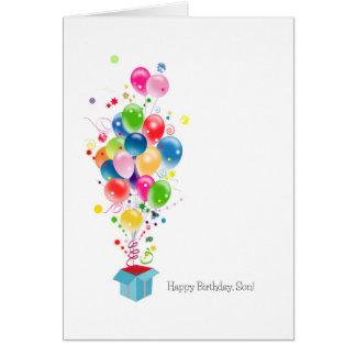 Globos de las tarjetas de cumpleaños del hijo que