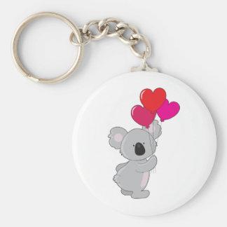 Globos del corazón de la koala llavero redondo tipo chapa