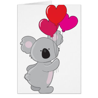 Globos del corazón de la koala tarjeta de felicitación