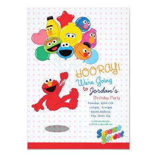 Globos del cumpleaños de Elmo y de los Pals Invitación 11,4 X 15,8 Cm