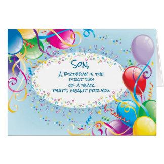 Globos del cumpleaños del hijo tarjeta de felicitación