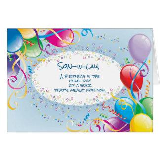 Globos del cumpleaños del yerno tarjeta de felicitación