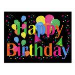 Globos del fiesta del feliz cumpleaños tarjetas postales