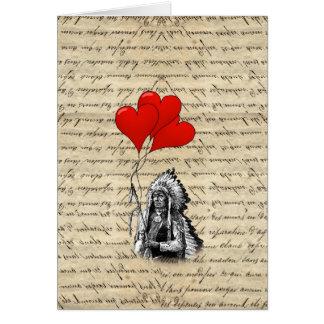 Globos del jefe indio y del corazón tarjeta pequeña