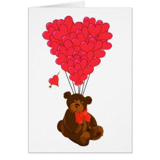 Globos del oso y del corazón de peluche tarjeta de felicitación