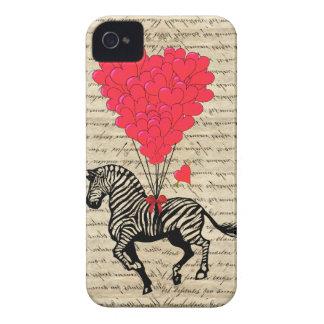 Globos divertidos de la cebra y del corazón del funda para iPhone 4