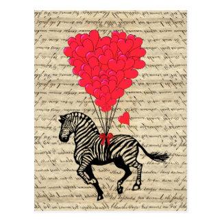 Globos divertidos de la cebra y del corazón del postal