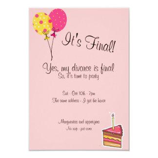 Globos e invitación del fiesta del divorcio de la invitación 8,9 x 12,7 cm