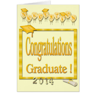 Globos, graduación amarilla 2014 del marco Ca de Tarjeta De Felicitación