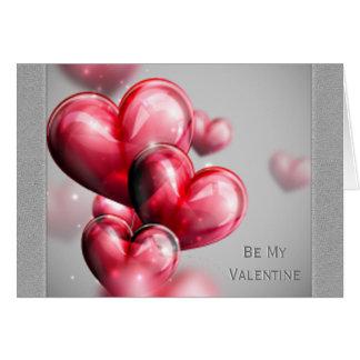 Globos rojos del corazón del el día de San Tarjeta De Felicitación