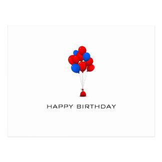 Globos rojos y azules - postal del feliz