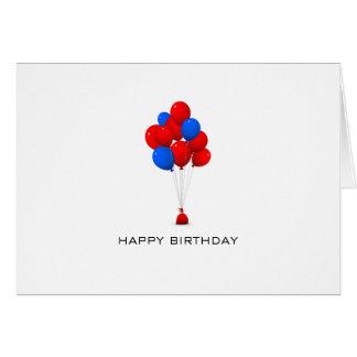 Globos rojos y azules - tarjeta de nota del feliz
