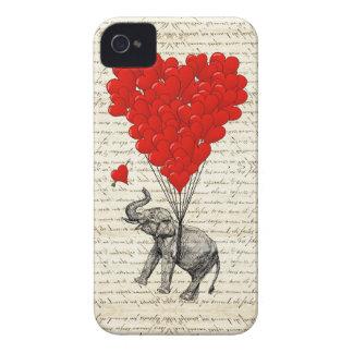 Globos románticos del elefante y del corazón carcasa para iPhone 4