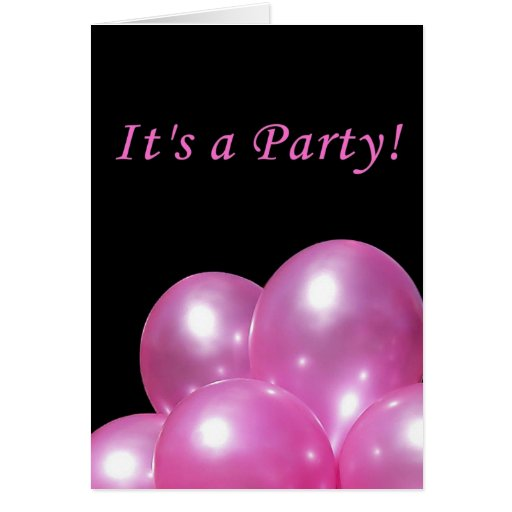 Globos rosados brillantes de la invitación del fie tarjetas