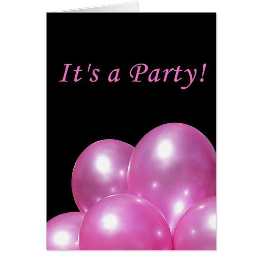 Globos rosados brillantes de la invitación del tarjeta pequeña