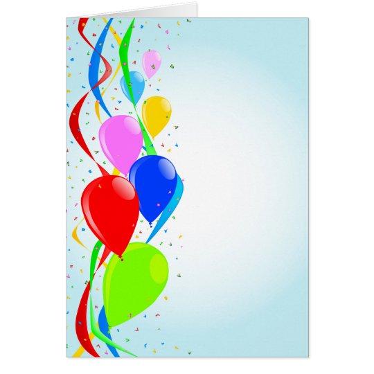 Globos y fiesta del confeti tarjeta de felicitación