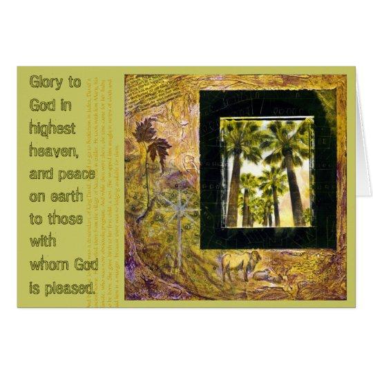 Gloria a la tarjeta de Navidad de dios