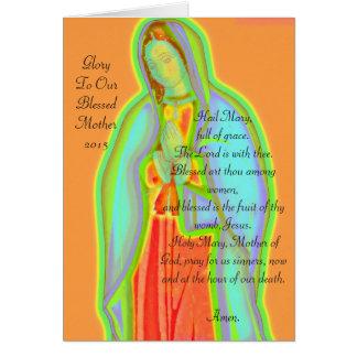 Gloria a nuestra madre bendecida tarjeta pequeña