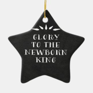 Gloria al rey recién nacido Christmas Ornament Adorno Navideño De Cerámica En Forma De Estrella