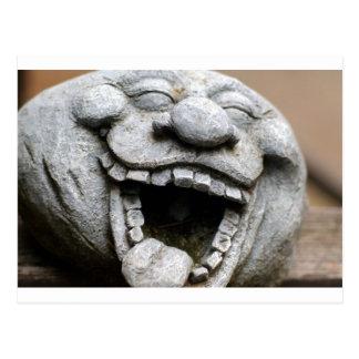 gnomo de risa del jardín del cemento tarjeta postal